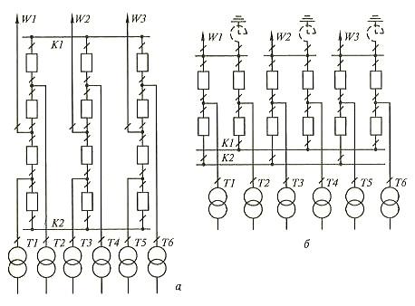 Схема с 4/3 выключателя на